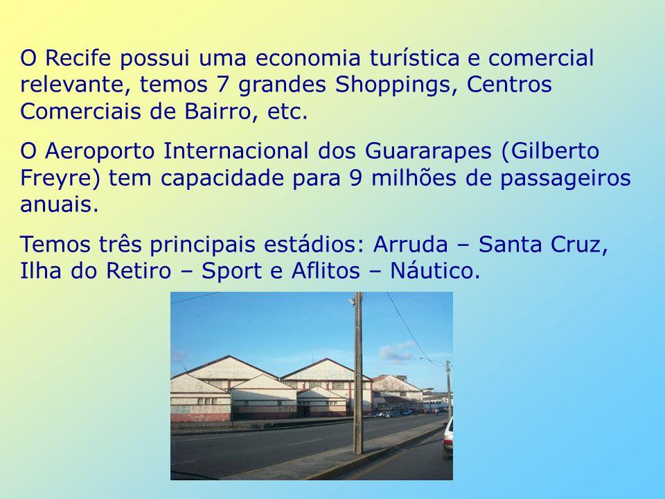 O Recife possui uma economia turística e comercial relevante, temos 7 grandes Shoppings, Centros Comerciais de Bairro, etc.