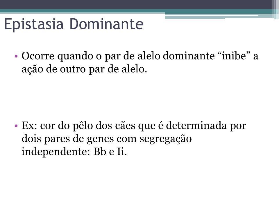 Epistasia Dominante Ocorre quando o par de alelo dominante inibe a ação de outro par de alelo.