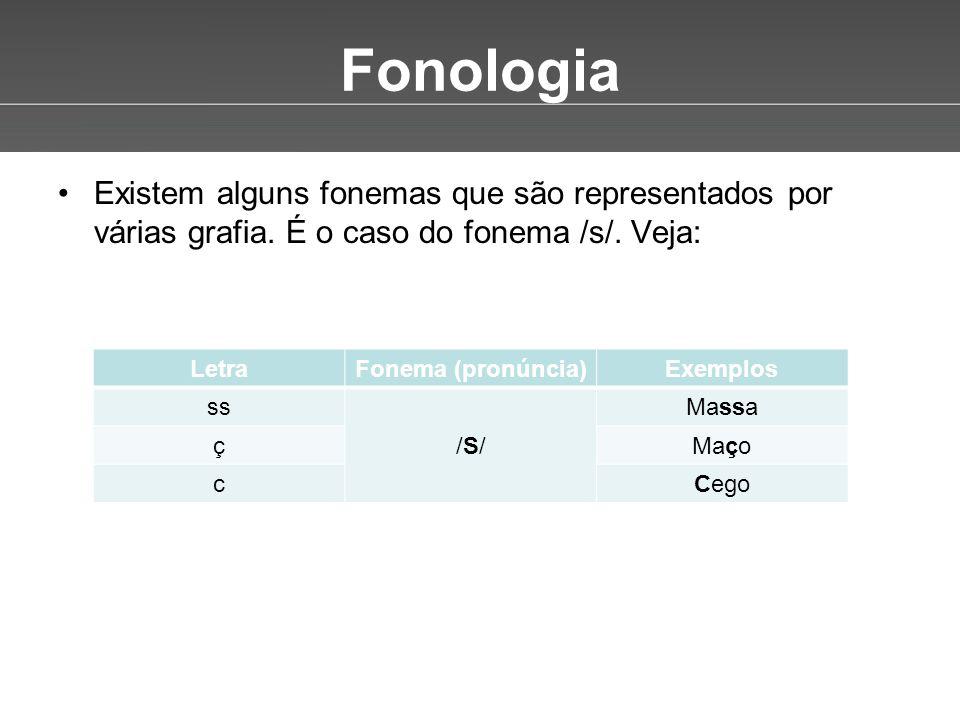 Fonologia Existem alguns fonemas que são representados por várias grafia. É o caso do fonema /s/. Veja: