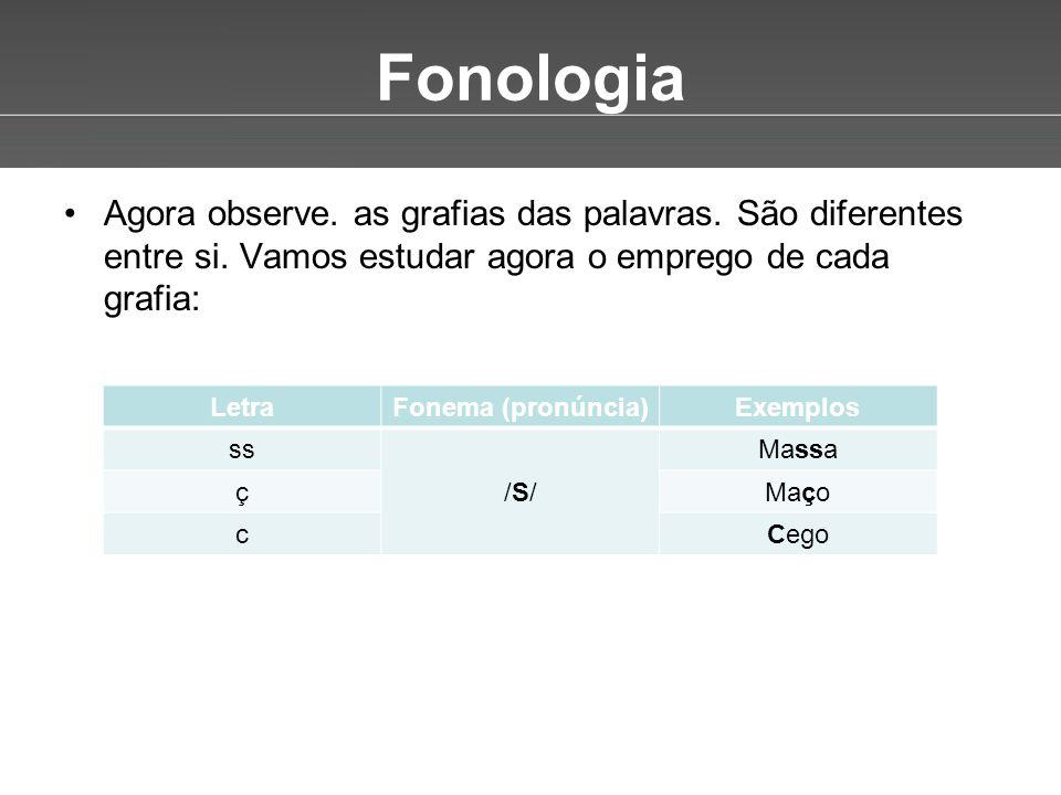 Fonologia Agora observe. as grafias das palavras. São diferentes entre si. Vamos estudar agora o emprego de cada grafia: