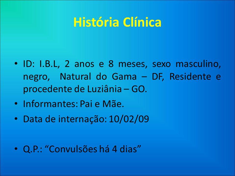 História Clínica ID: I.B.L, 2 anos e 8 meses, sexo masculino, negro, Natural do Gama – DF, Residente e procedente de Luziânia – GO.