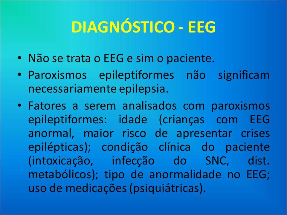 DIAGNÓSTICO - EEG Não se trata o EEG e sim o paciente.