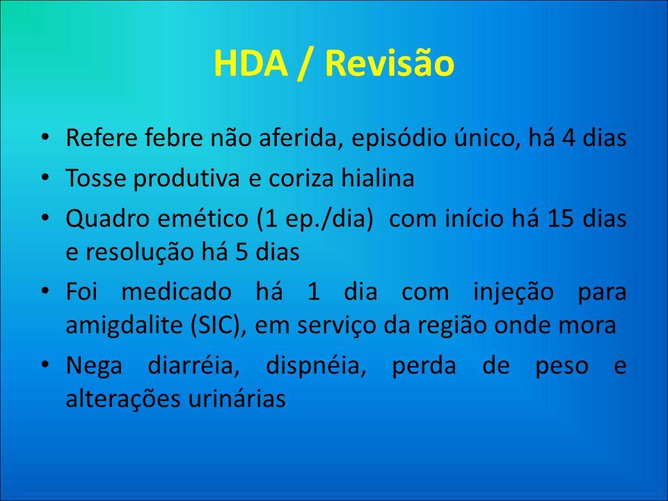 HDA / Revisão Refere febre não aferida, episódio único, há 4 dias