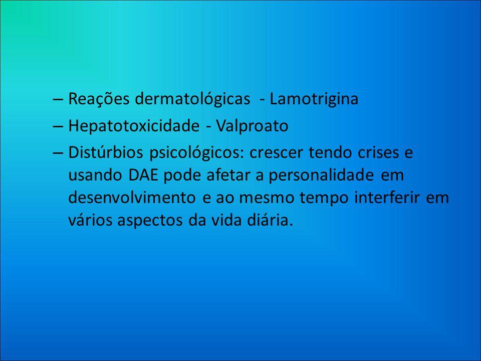 Reações dermatológicas - Lamotrigina