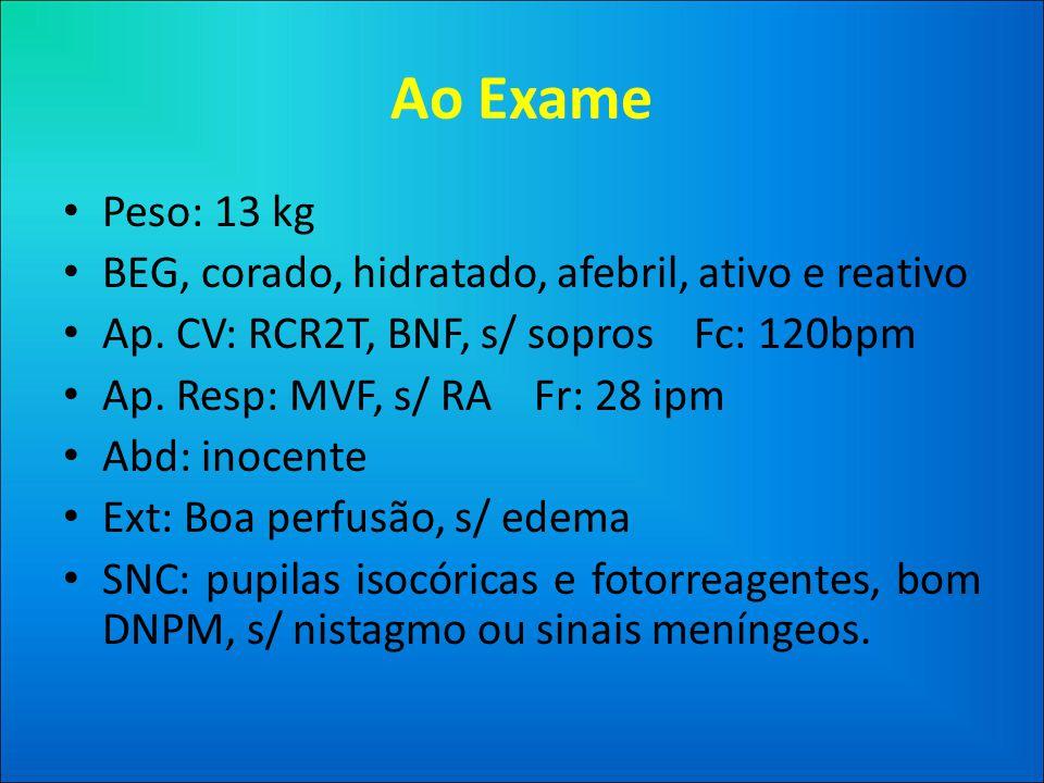 Ao Exame Peso: 13 kg BEG, corado, hidratado, afebril, ativo e reativo