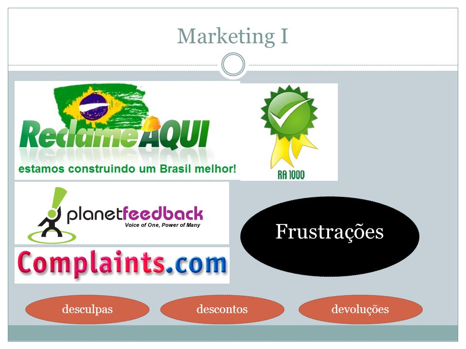 Marketing I Frustrações desculpas descontos devoluções