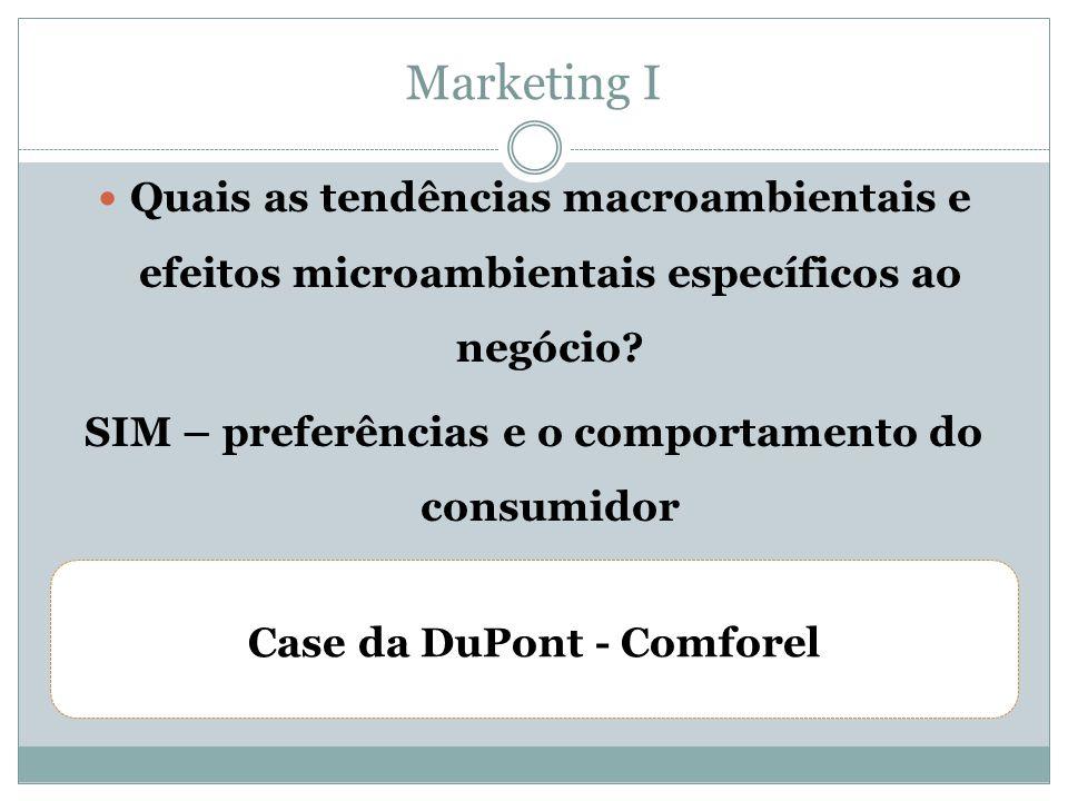 Marketing I Quais as tendências macroambientais e efeitos microambientais específicos ao negócio SIM – preferências e o comportamento do consumidor.