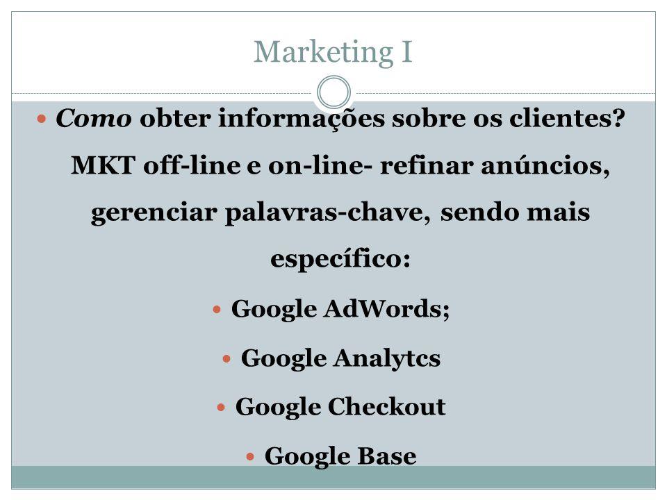Marketing I Como obter informações sobre os clientes MKT off-line e on-line- refinar anúncios, gerenciar palavras-chave, sendo mais específico: