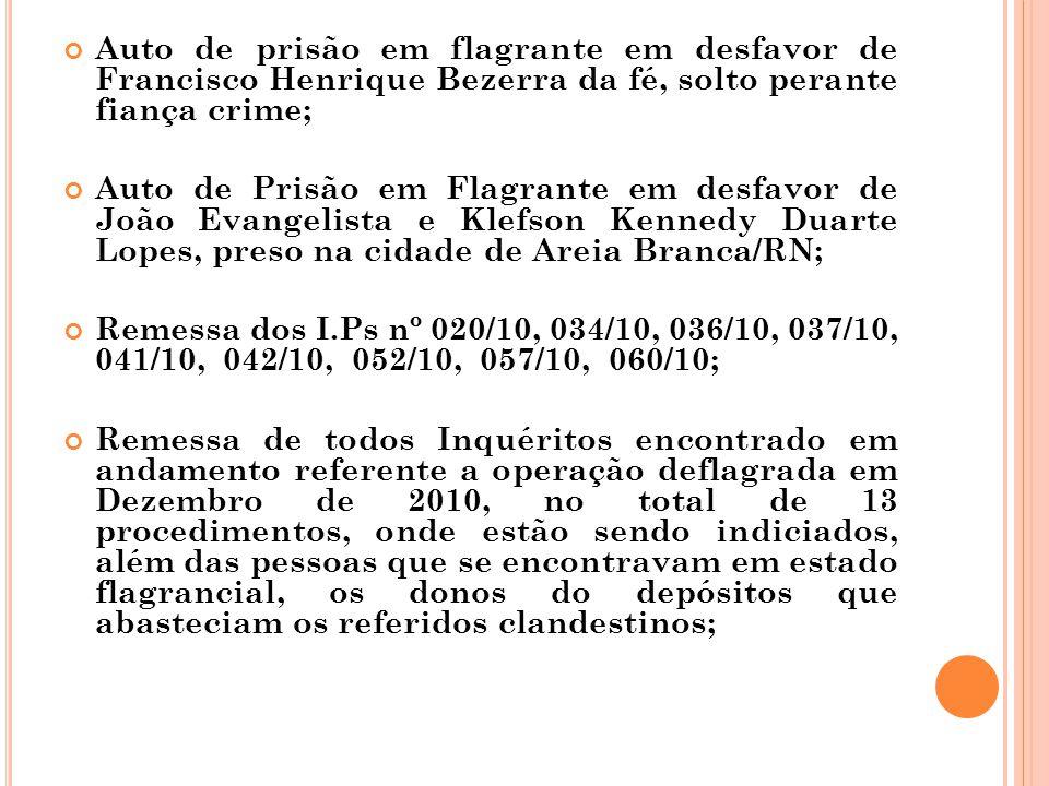 Auto de prisão em flagrante em desfavor de Francisco Henrique Bezerra da fé, solto perante fiança crime;