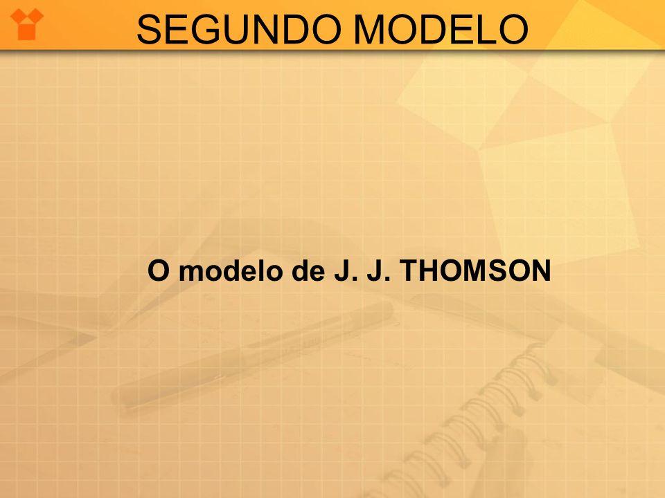 SEGUNDO MODELO O modelo de J. J. THOMSON