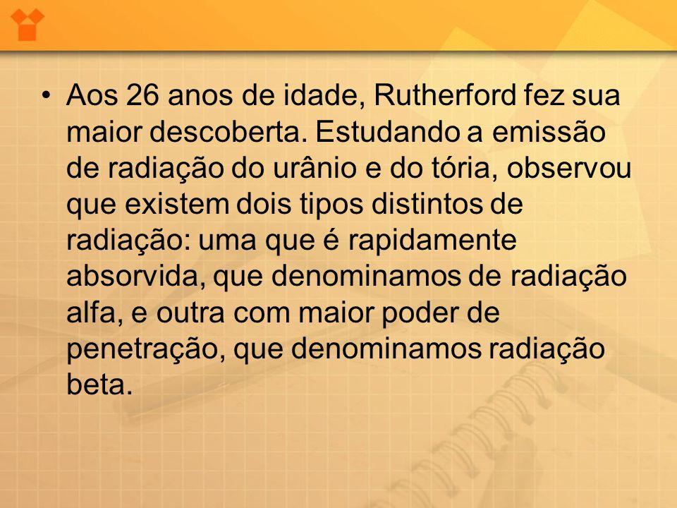 Aos 26 anos de idade, Rutherford fez sua maior descoberta