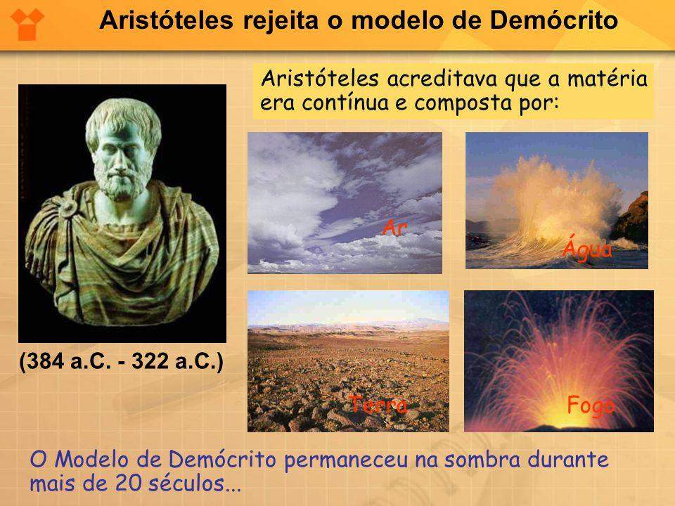 Aristóteles rejeita o modelo de Demócrito