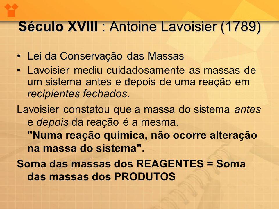 Século XVIII : Antoine Lavoisier (1789)