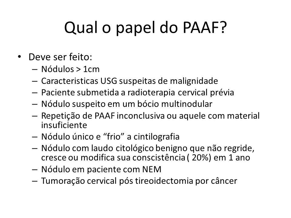 Qual o papel do PAAF Deve ser feito: Nódulos > 1cm