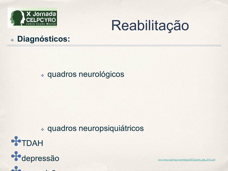 Reabilitação Diagnósticos: quadros neurológicos