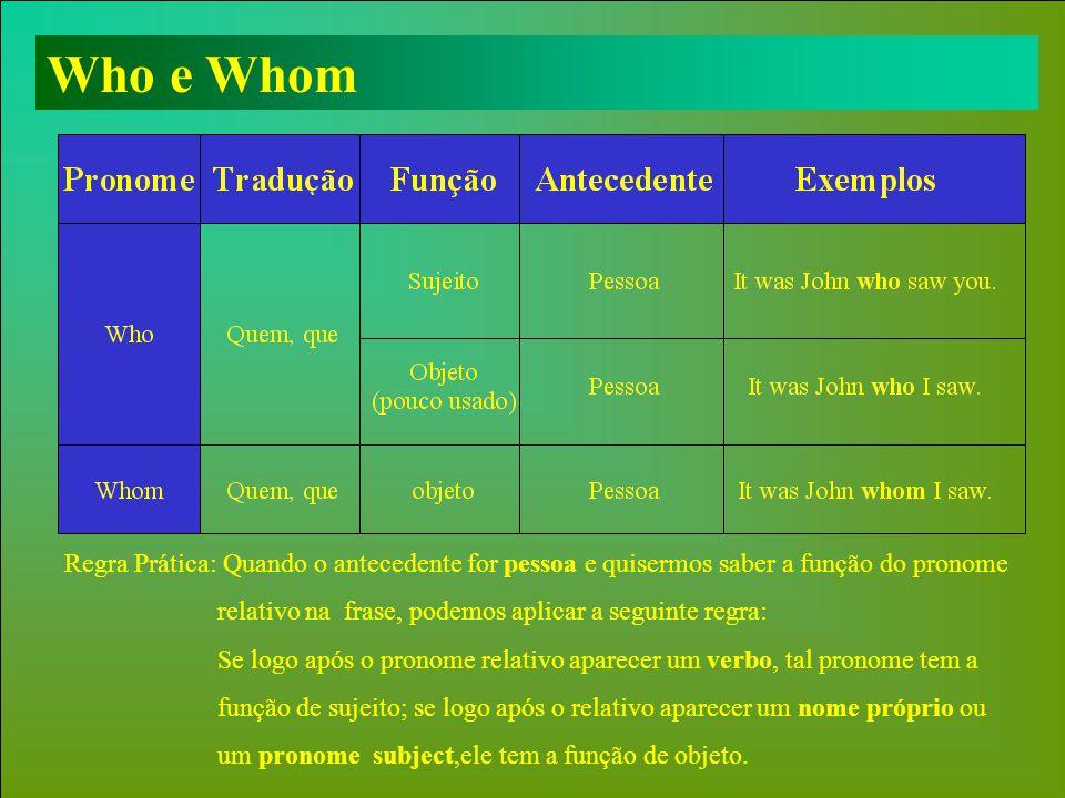 Who e Whom Regra Prática: Quando o antecedente for pessoa e quisermos saber a função do pronome.
