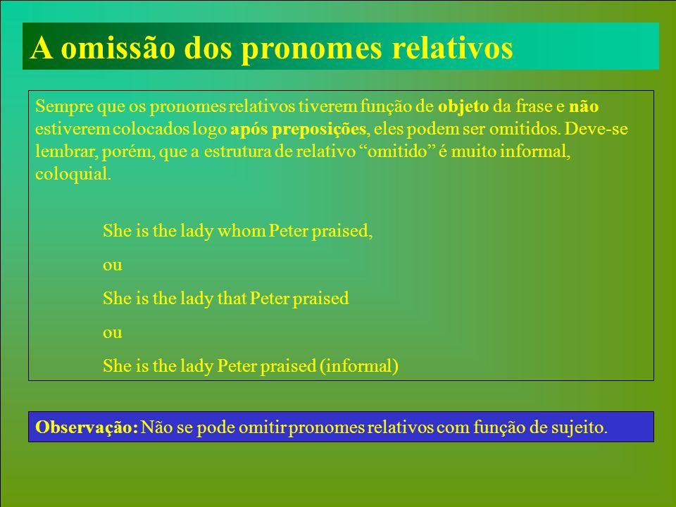 A omissão dos pronomes relativos