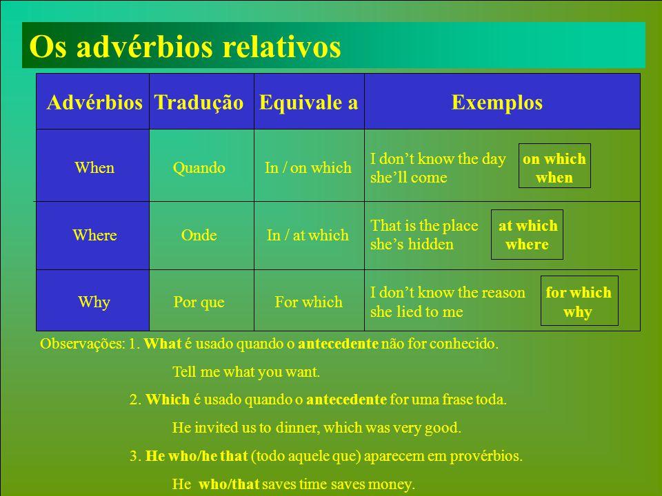 Os advérbios relativos