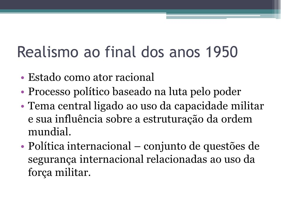 Realismo ao final dos anos 1950