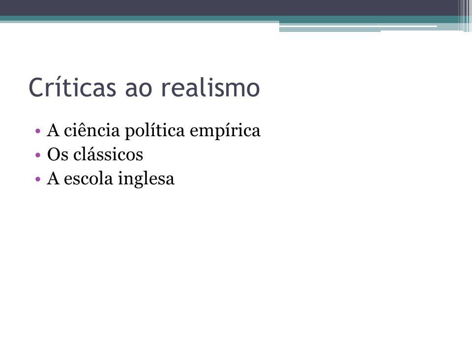 Críticas ao realismo A ciência política empírica Os clássicos