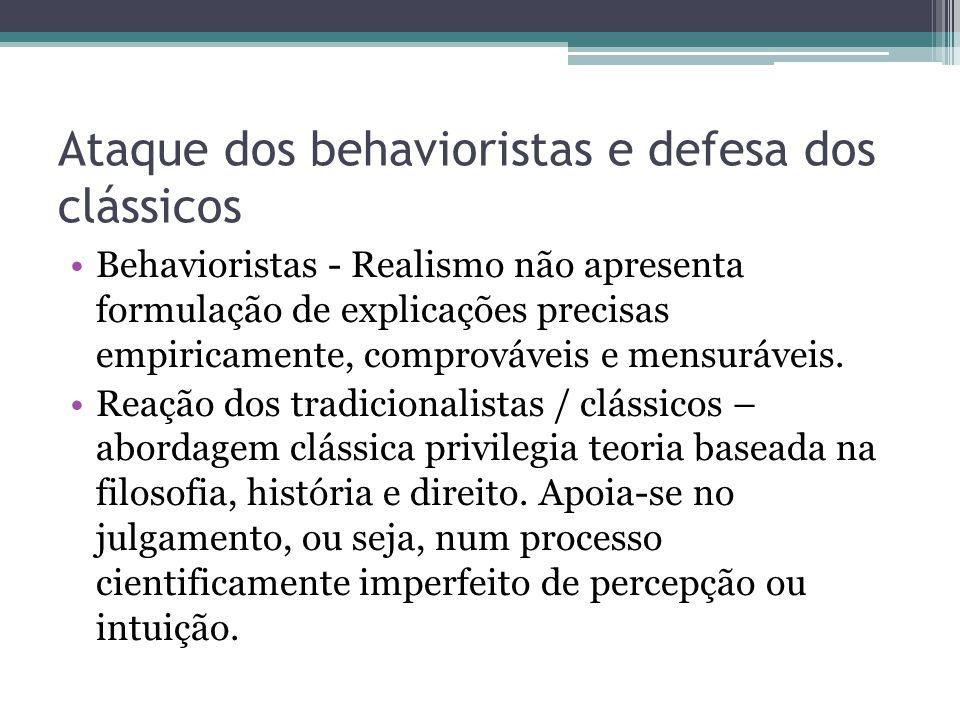 Ataque dos behavioristas e defesa dos clássicos