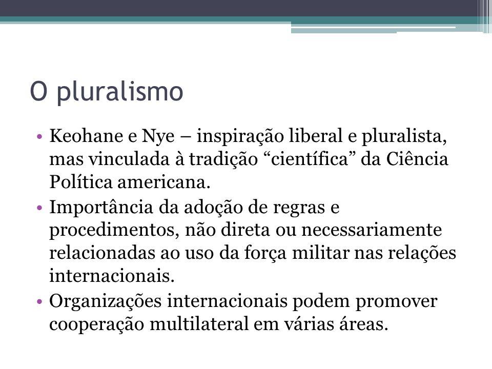 O pluralismo Keohane e Nye – inspiração liberal e pluralista, mas vinculada à tradição científica da Ciência Política americana.