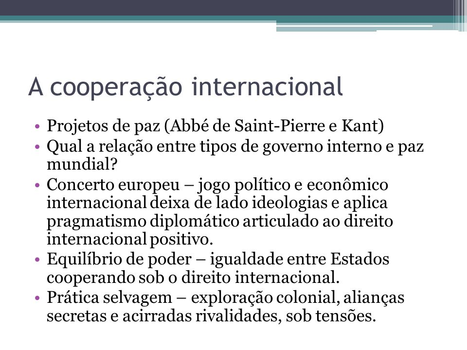A cooperação internacional