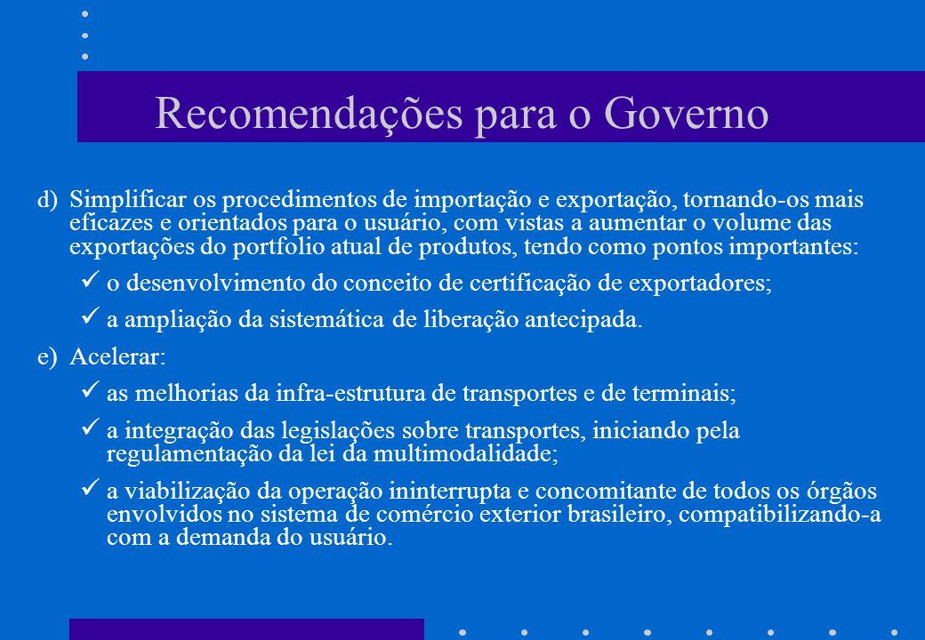 Recomendações para o Governo