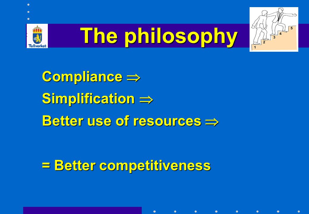 The philosophy Compliance  Simplification  Better use of resources 