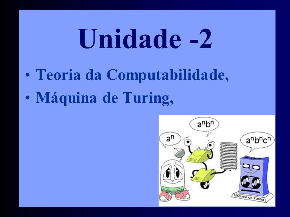 Unidade -2 Teoria da Computabilidade, Máquina de Turing,