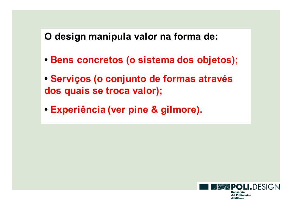 O design manipula valor na forma de: