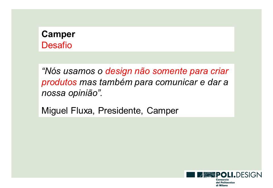 Camper Desafio. Nós usamos o design não somente para criar produtos mas também para comunicar e dar a nossa opinião .