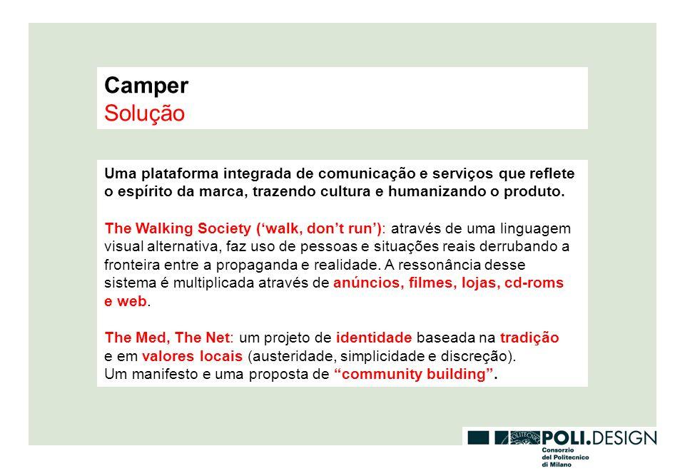 Camper Solução. Uma plataforma integrada de comunicação e serviços que reflete o espírito da marca, trazendo cultura e humanizando o produto.