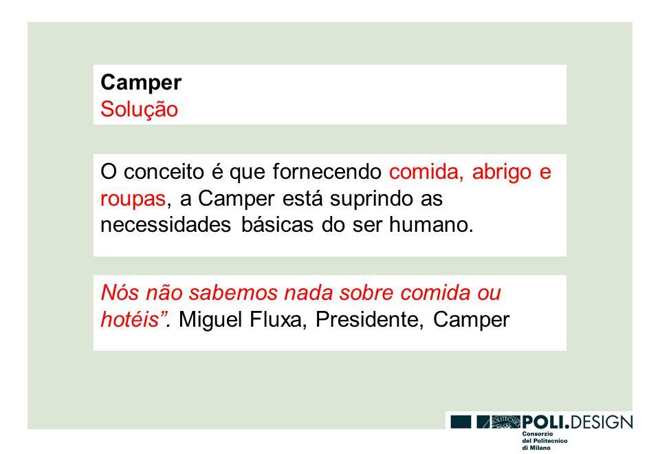 Camper Solução. O conceito é que fornecendo comida, abrigo e roupas, a Camper está suprindo as necessidades básicas do ser humano.