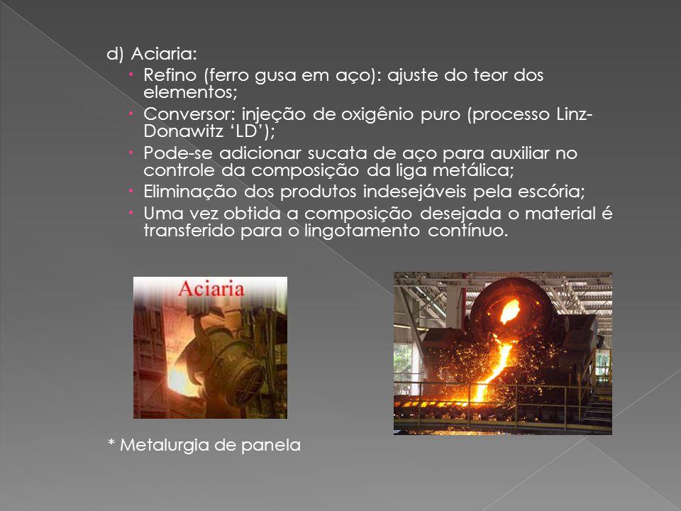 Refino (ferro gusa em aço): ajuste do teor dos elementos;