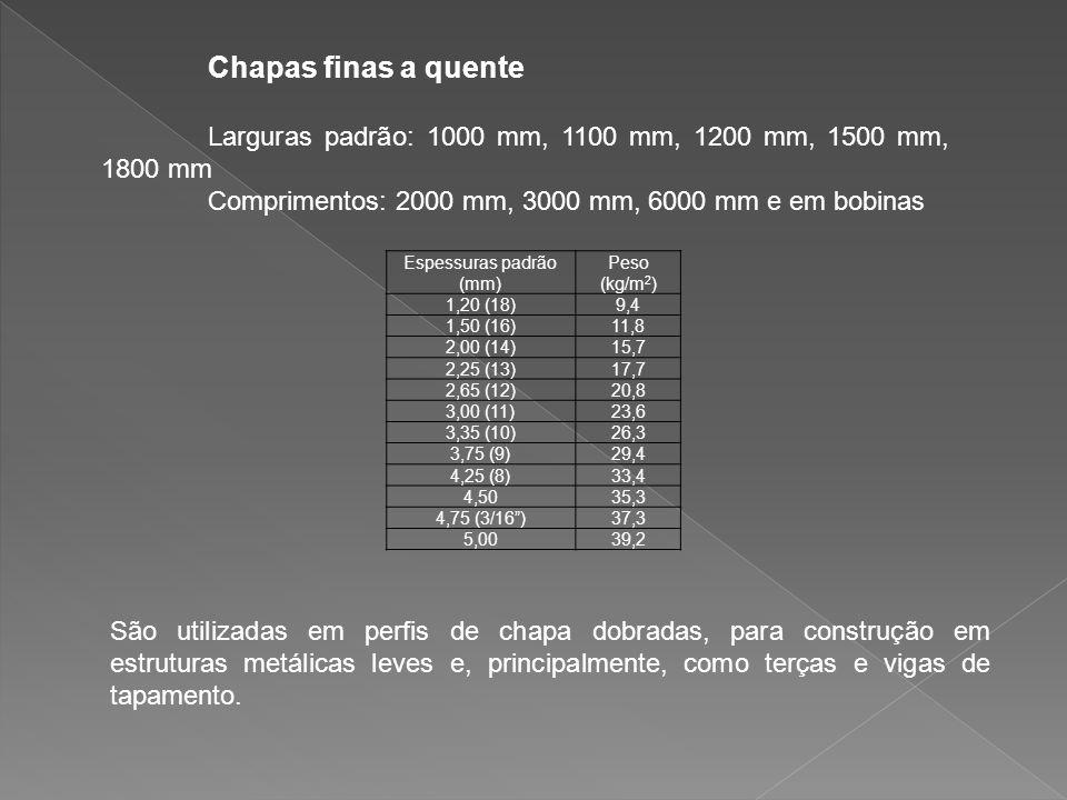 Larguras padrão: 1000 mm, 1100 mm, 1200 mm, 1500 mm, 1800 mm