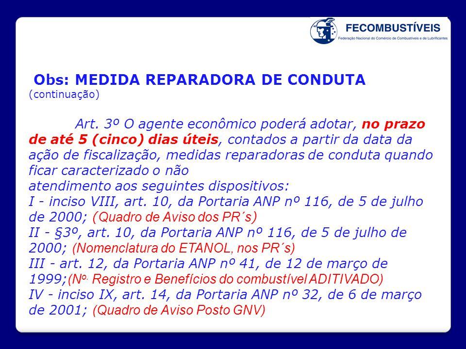 Obs: MEDIDA REPARADORA DE CONDUTA (continuação)