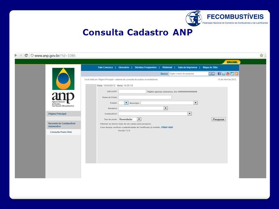 Consulta Cadastro ANP X