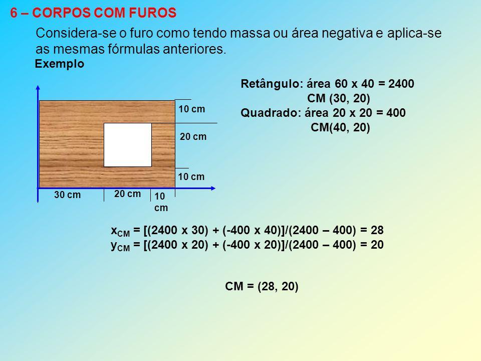 Considera-se o furo como tendo massa ou área negativa e aplica-se