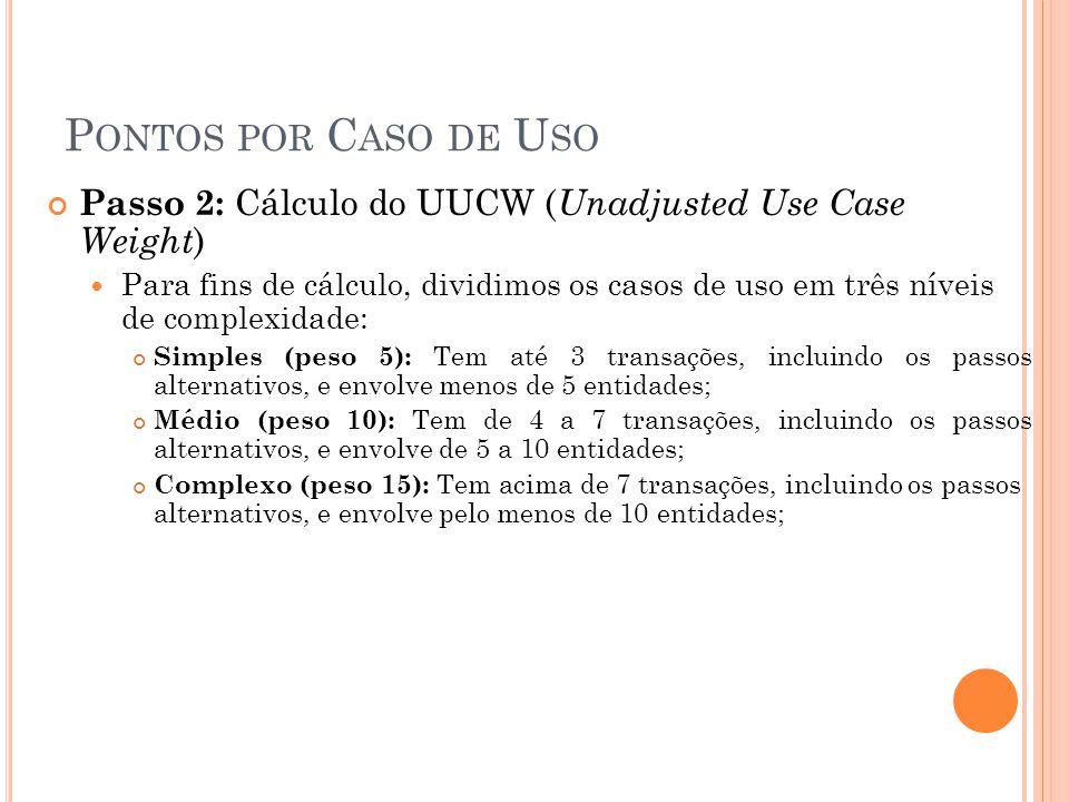 Pontos por Caso de Uso Passo 2: Cálculo do UUCW (Unadjusted Use Case Weight)