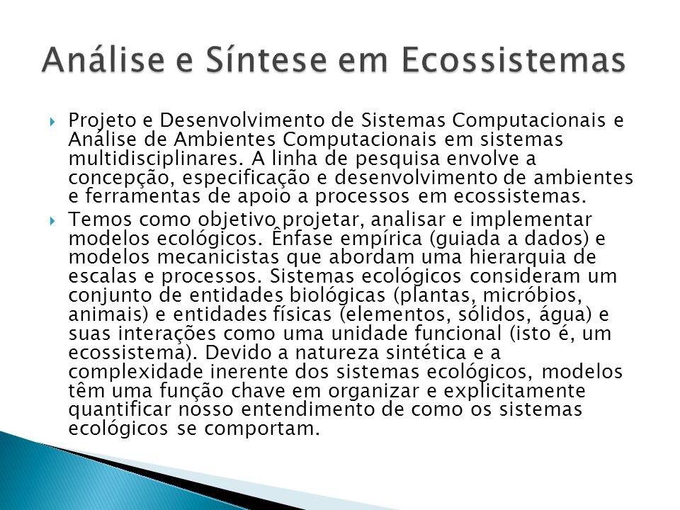 Análise e Síntese em Ecossistemas