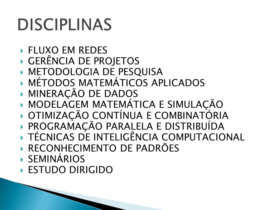 DISCIPLINAS FLUXO EM REDES GERÊNCIA DE PROJETOS