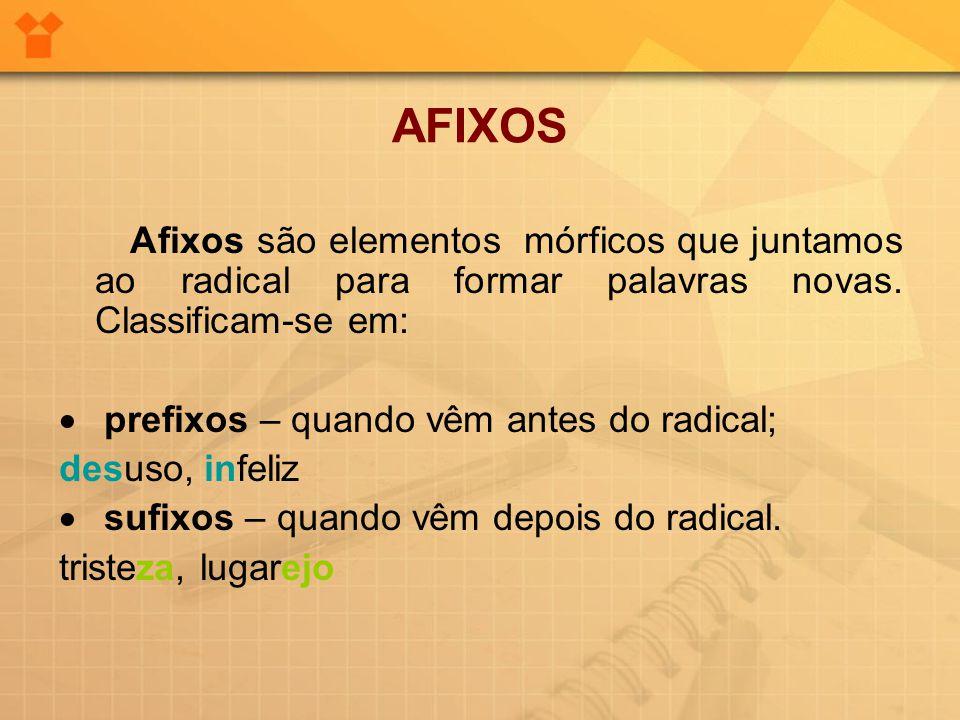 AFIXOS Afixos são elementos mórficos que juntamos ao radical para formar palavras novas. Classificam-se em: