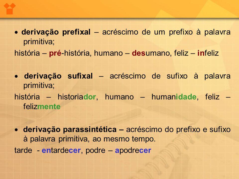 · derivação prefixal – acréscimo de um prefixo à palavra primitiva;
