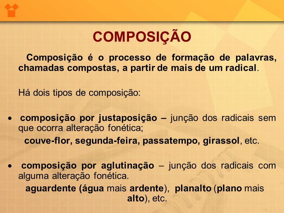 COMPOSIÇÃO Composição é o processo de formação de palavras, chamadas compostas, a partir de mais de um radical.