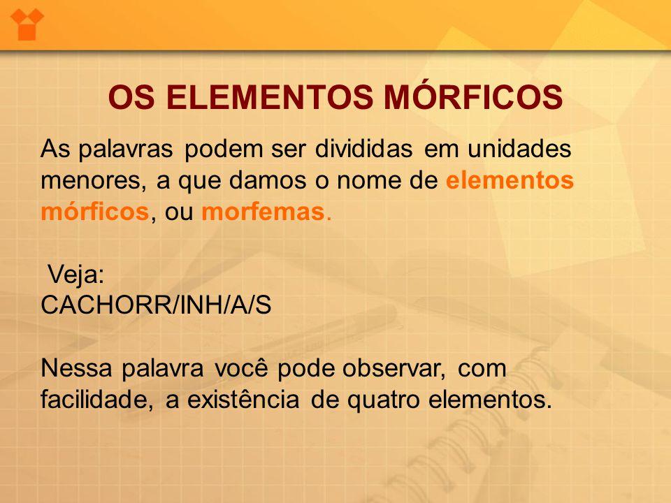 OS ELEMENTOS MÓRFICOS As palavras podem ser divididas em unidades menores, a que damos o nome de elementos mórficos, ou morfemas.
