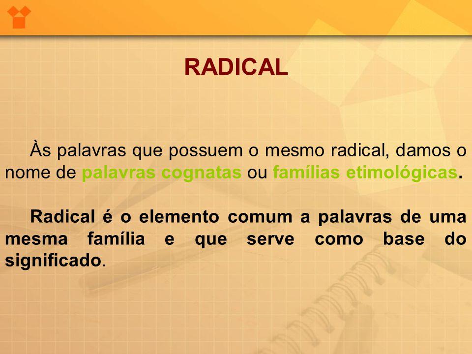 RADICAL Às palavras que possuem o mesmo radical, damos o nome de palavras cognatas ou famílias etimológicas.