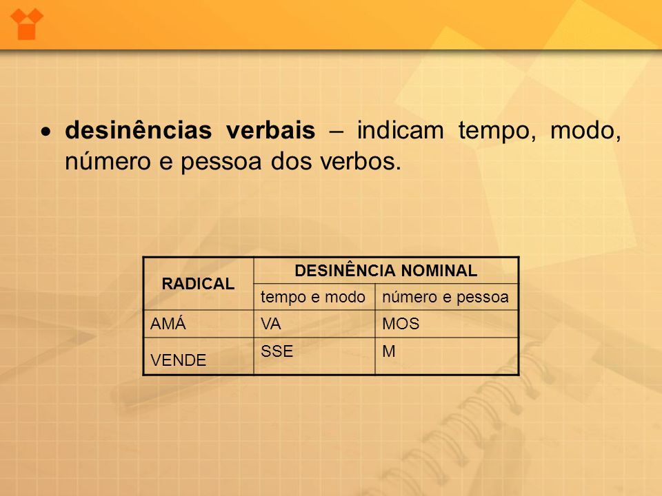 · desinências verbais – indicam tempo, modo, número e pessoa dos verbos.
