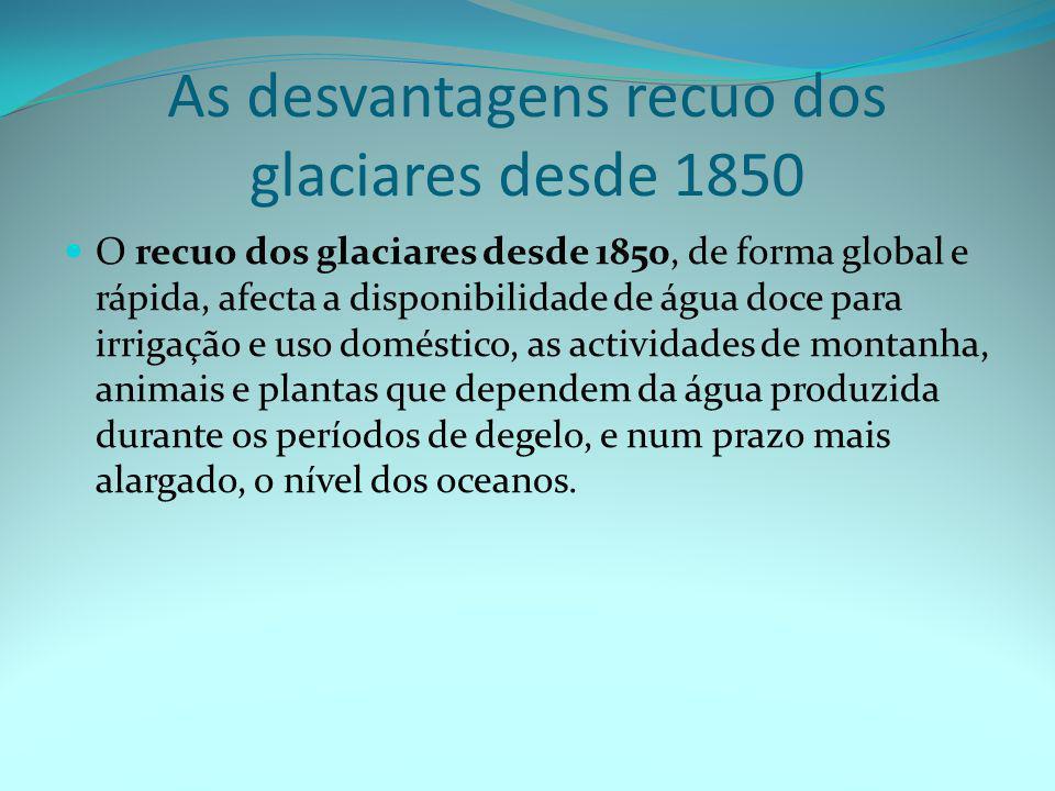 As desvantagens recuo dos glaciares desde 1850