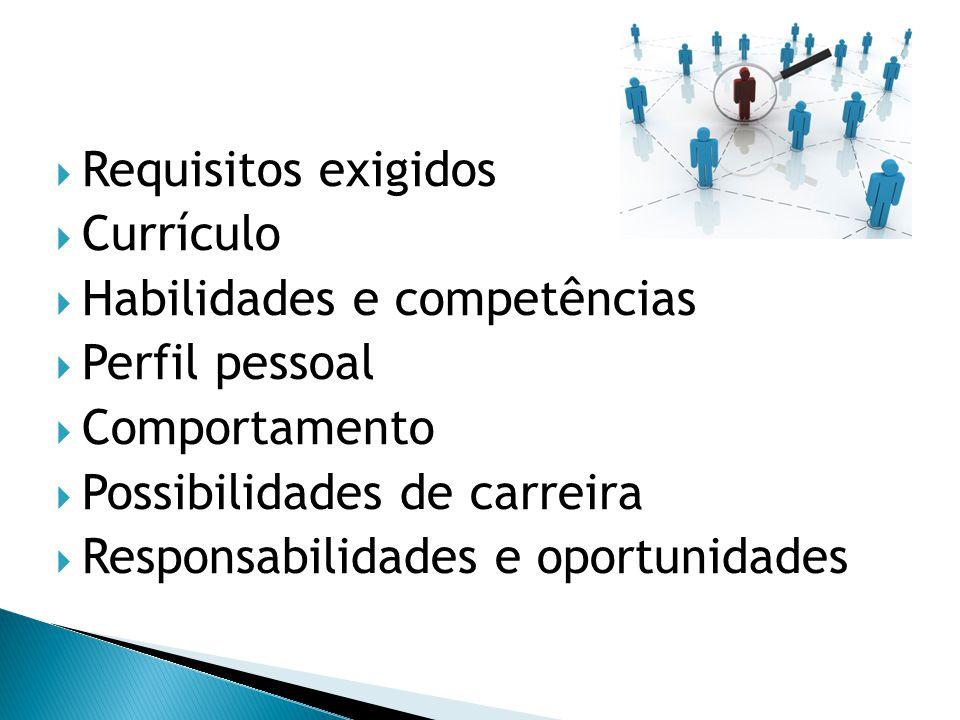 Requisitos exigidos Currículo. Habilidades e competências. Perfil pessoal. Comportamento. Possibilidades de carreira.